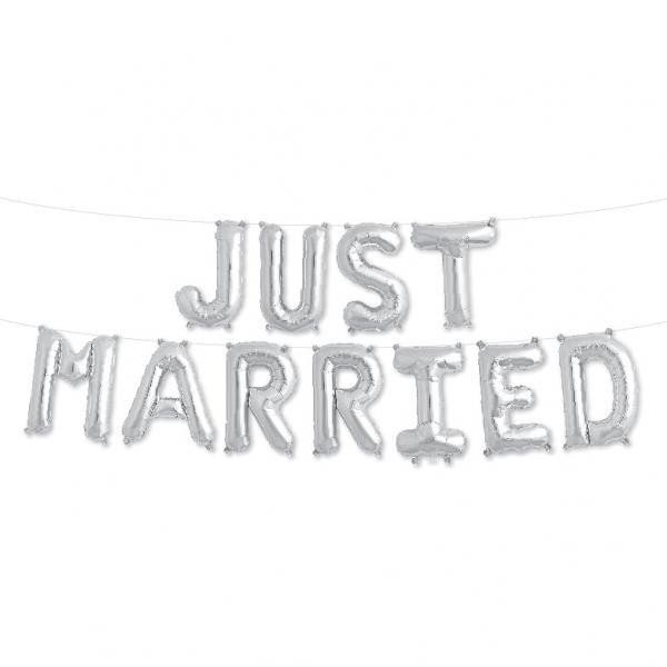Just Married Ballon Set Silber