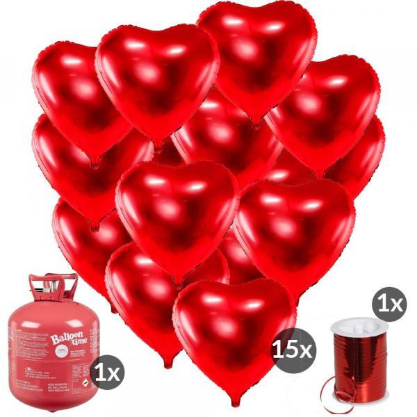 Ballon Set rote Herzen und Helium