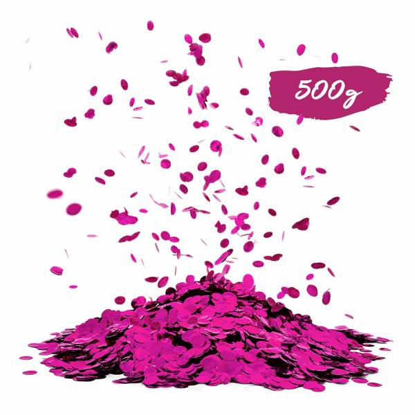 Konfetti Pink Metallic rund 500g Packung