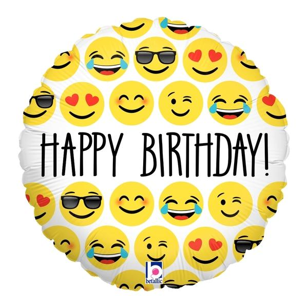 Emoji Folienballon Happy Birthday