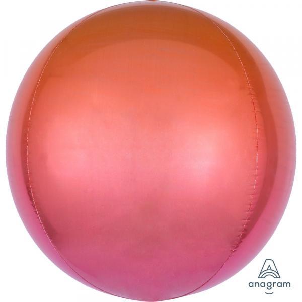 Orbz Kugel Folienballon Rot Orange Verlauf 45cm
