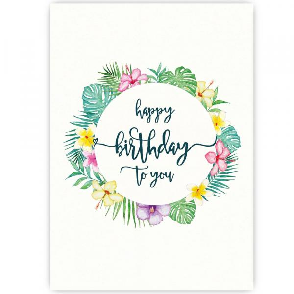 Postkarte Happy Birthday Tropical