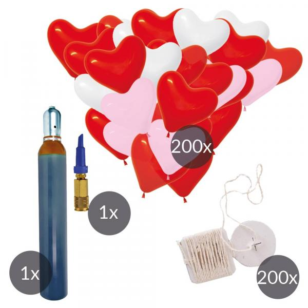 Herzluftballons Ökobänder und Helium