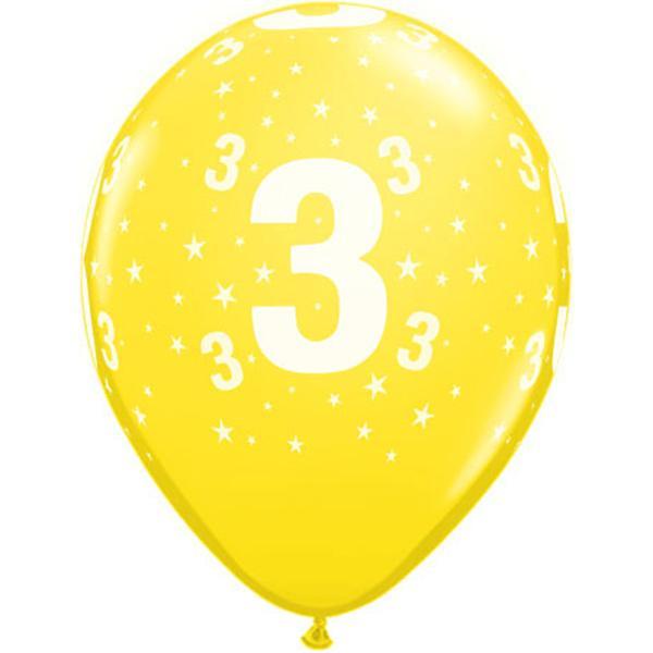 Zahl 3 Stars Festive bedruckter Ballon