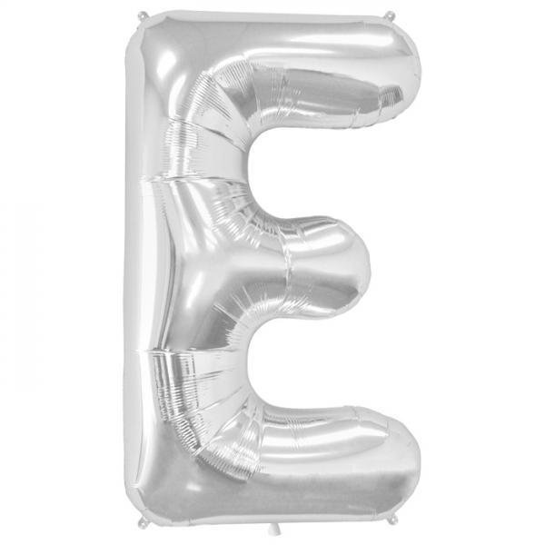 Buchstabe E Folienballon Silber XXL