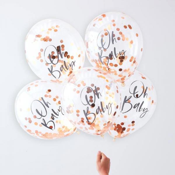 5 Konfetti Ballons rosegoldenes Konfetti Oh Baby Aufschrift