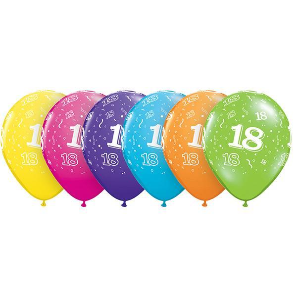 Zahl 18 Tropical bedruckter Ballon