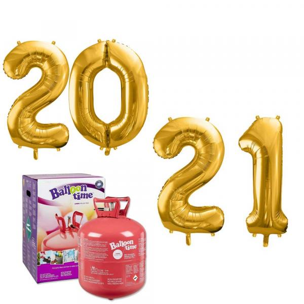 2021 Silvester Party Zahlen Ballon Set mit Helium