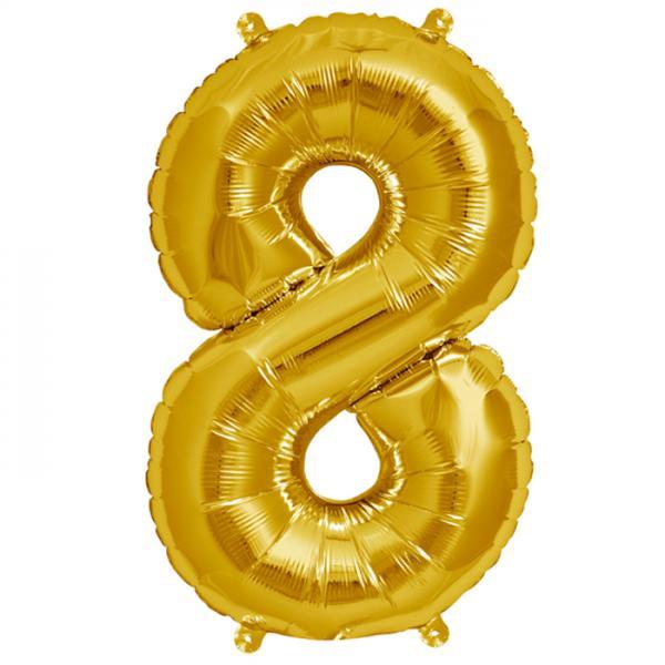 Zahl 8 Folienballon gold
