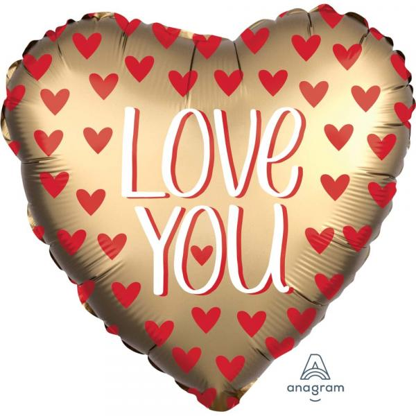 LOVE YOU Ballon in Gold matt mit roten Herzen