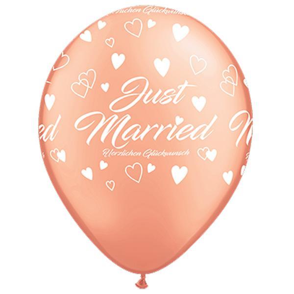 Rosegold Just married Luftballon