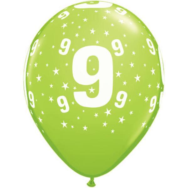 Zahl 9 Stars Festive bedruckter Ballon