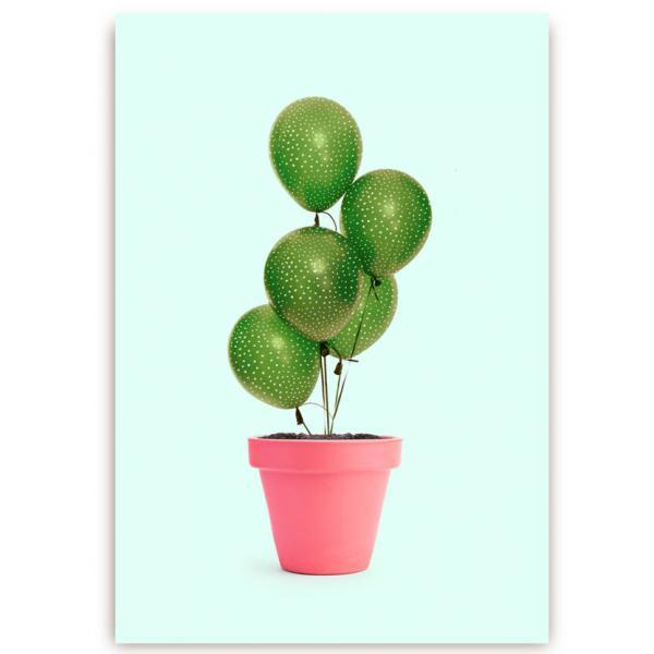 POstkarte Kaktus Ballons