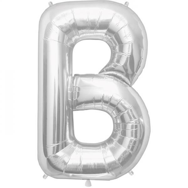 Buchstabe B Folienballon Silber XXL