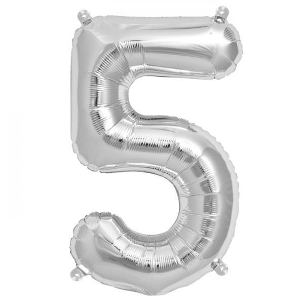 Zahl 5 Folienballon silber