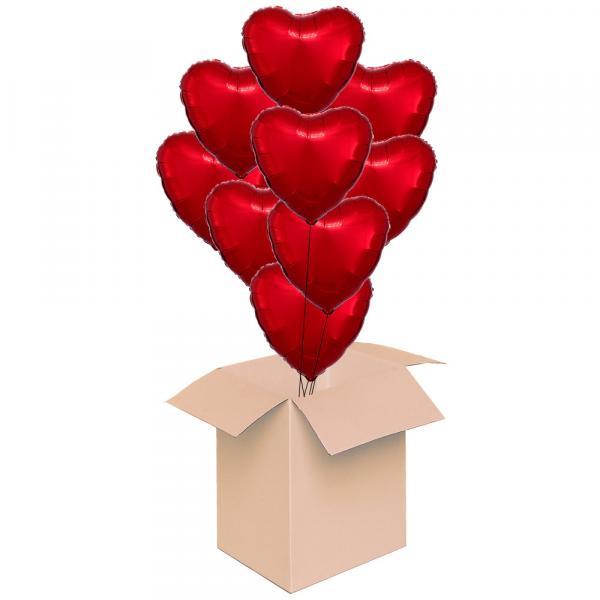 Ballonbox XXL Herzen Rot