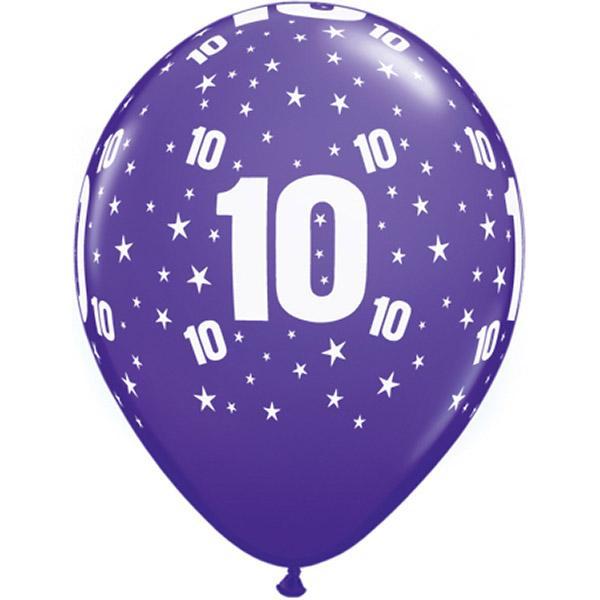 Zahl 10 Stars Festive bedruckter Ballon
