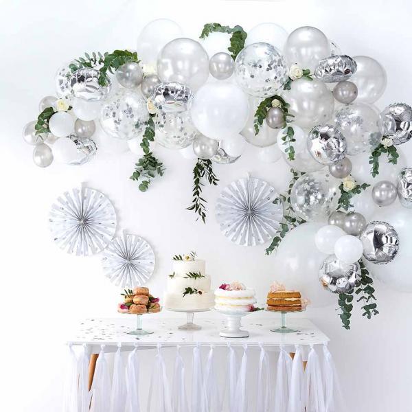 Ballongirlande DIY Set Silber