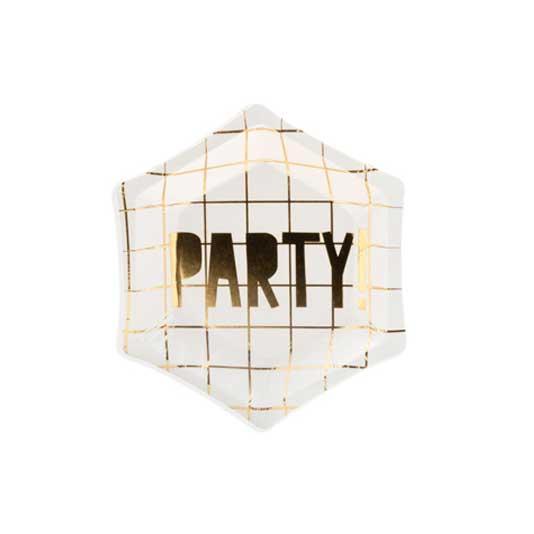 Partyteller Weiss Aufschrift Party!