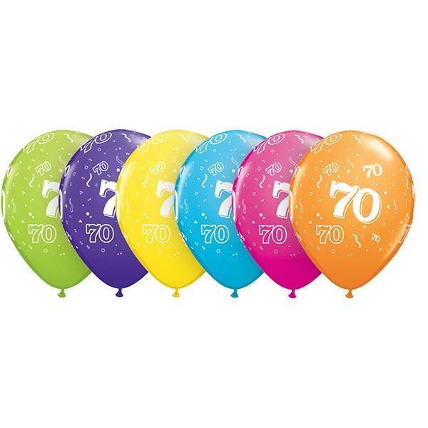 Zahl 70 Tropical bedruckter Ballon