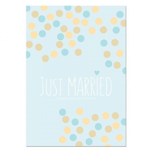 Ballonweitflugkarte Just Married Dots