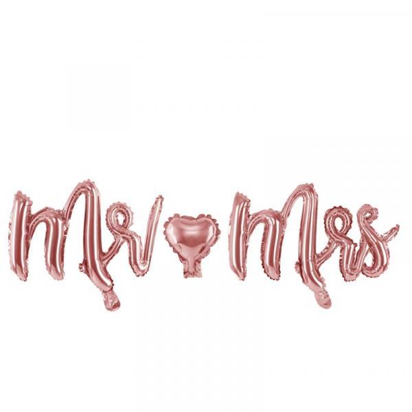 Mr. & Mrs. Schriftzug Ballon Rosegold