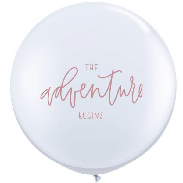 The adventure begins Riesenballon Schrift Rosegold