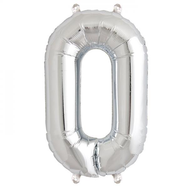 Zahl 0 Folienballon silber