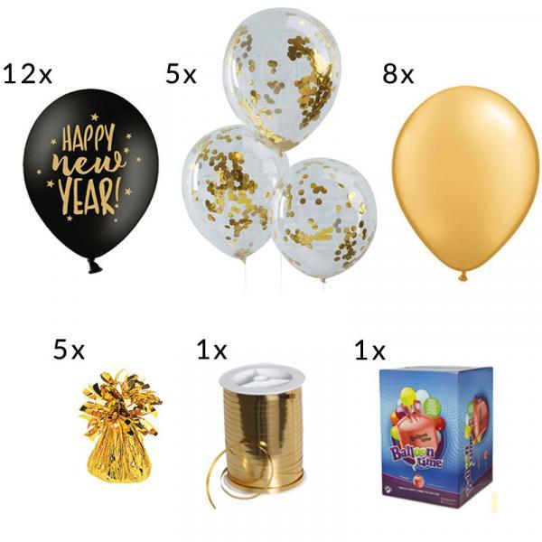 Silvester Ballon Set Schwarz Gold Luftballons
