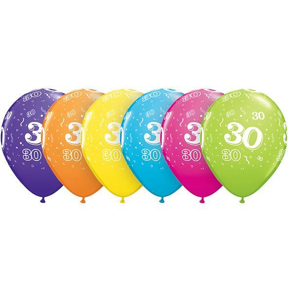 Zahl 30 Tropical bedruckter Ballon