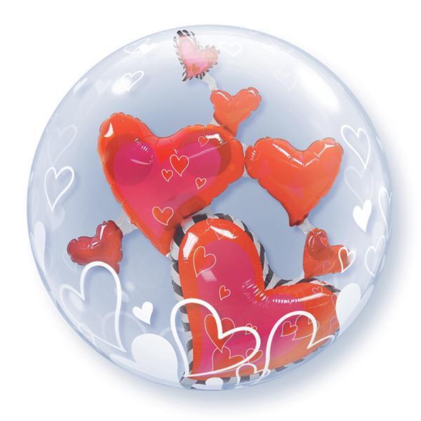 Schwebende rote Herzen im Ballon Bubble Ballon