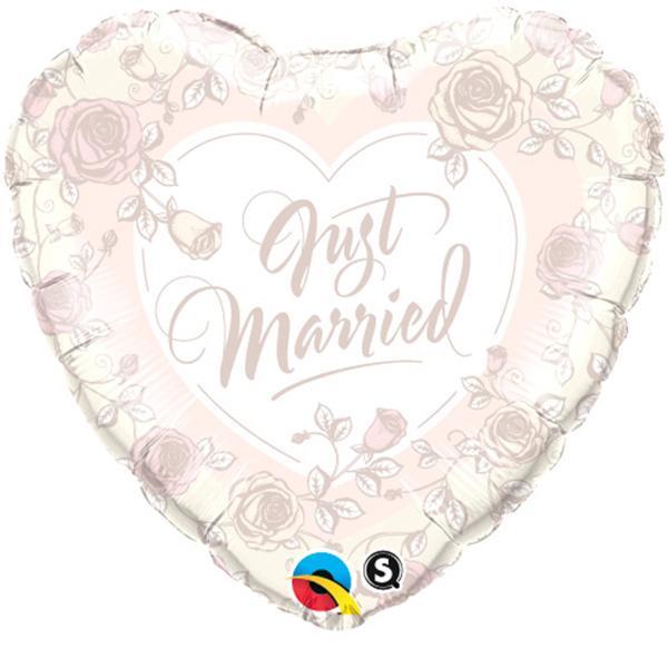 Just Married Roses Herz Folienballon