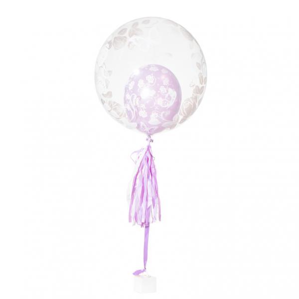 Schwebender Geschenkballon: Hochzeit - Rosen und Schmetterlinge