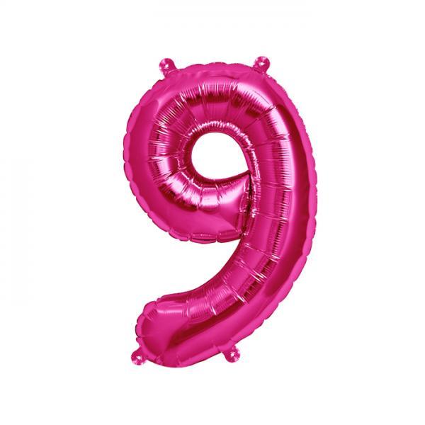 Zahl 9 Folienballon pink