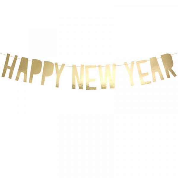 Happy New Year Girlande Gold