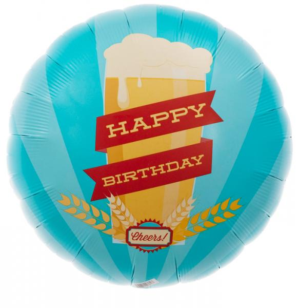 Happy Birthday Bierglas Folienballon