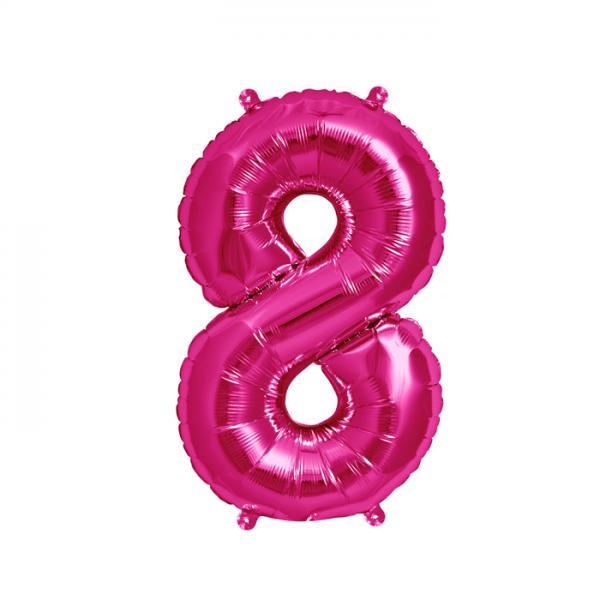 Zahl 8 Folienballon pink