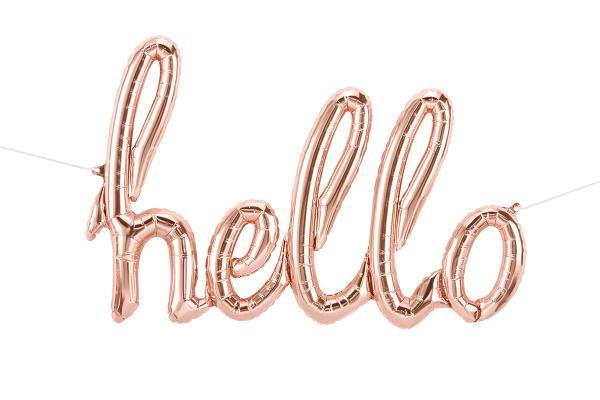 Hello Script Schriftzug Ballon roségold