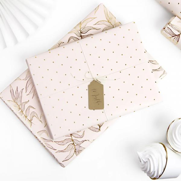 Geschenkpapier Farn Gold Rosa