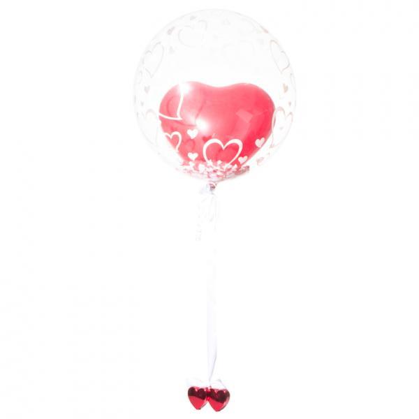 Schwebender Geschenkballon: Hochzeit - Herzen