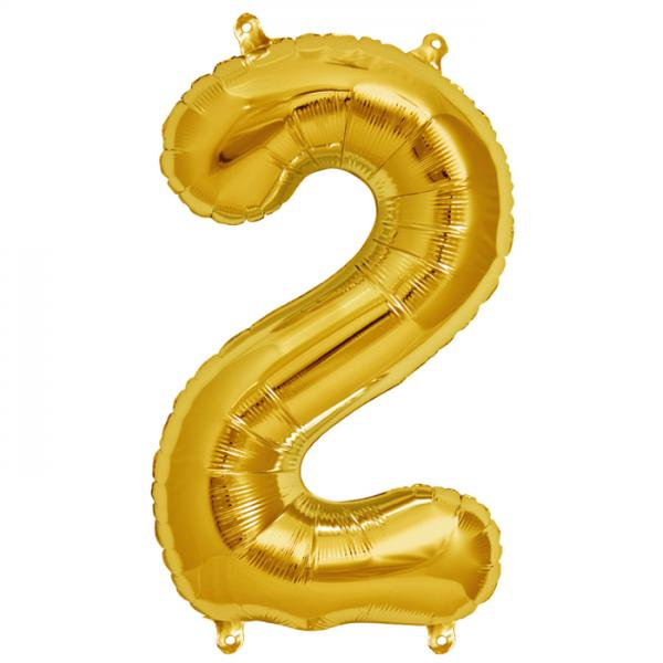 Zahl 2 Folienballon gold