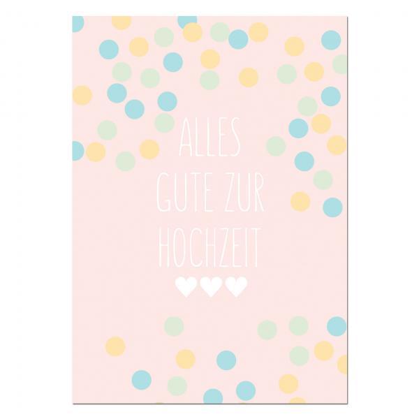 Ballonweitflugkarte Alles Gute zur Hochzeit Dots