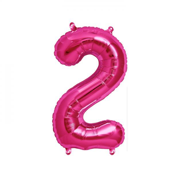 Zahl 2 Folienballon pink