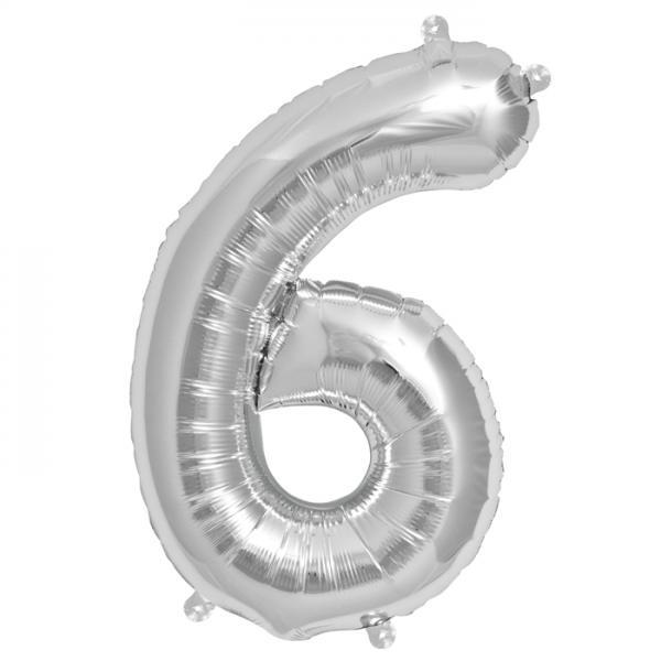 Zahl 6 Folienballon silber