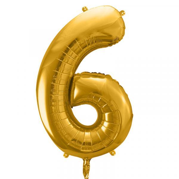Zahlenballon 6 Gold XXL