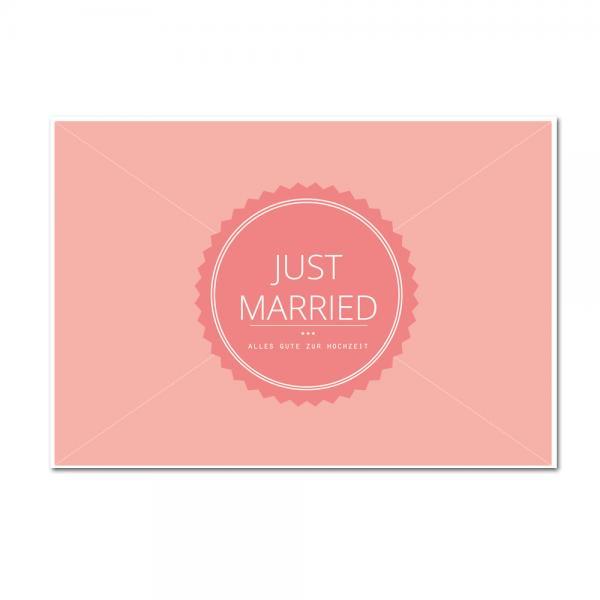 Ballonweitflugkarte Hochzeit Just Married