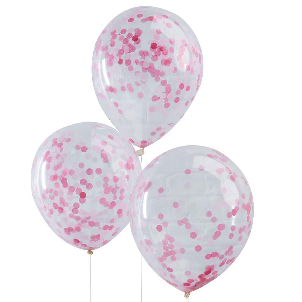 konfetti ballon transparent rosa balloon fantasy partyboutique. Black Bedroom Furniture Sets. Home Design Ideas