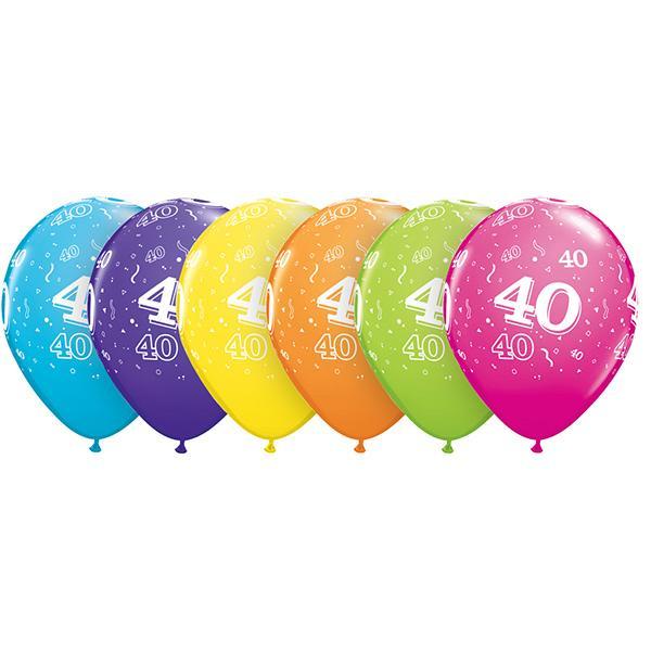 Zahl 40 Tropical bedruckter Ballon