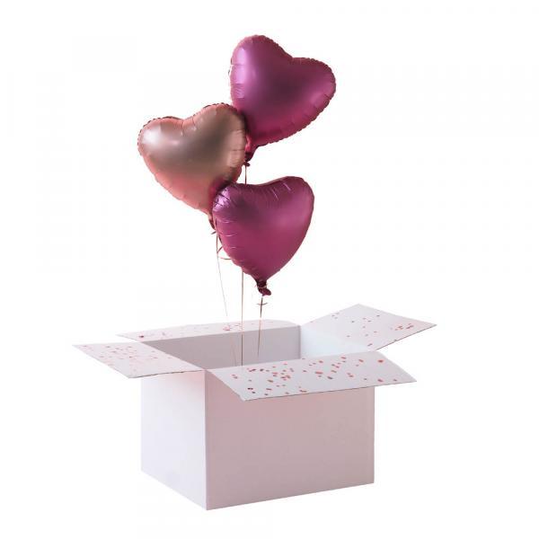 3 Herzballons deiner Wahl mit Helium & Geschenkbox