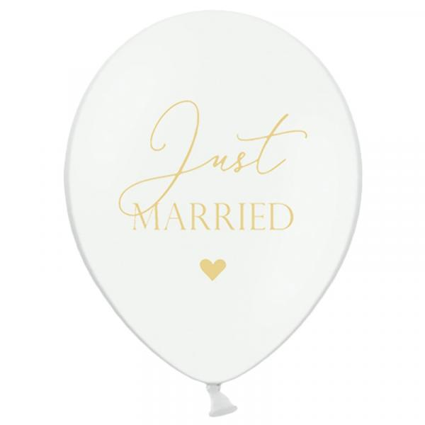 Just Married bedruckter Ballon Weiß 6er Set